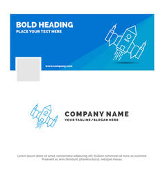 blue business logo template for spacecraft vector image