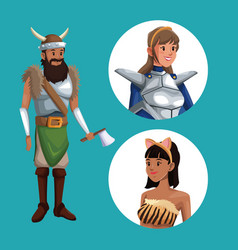 blue poster with viking man costume and icons vector image