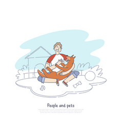 boy playing with dog in house backyard happy vector image