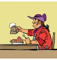 Brave pirate is eating in tavern vector