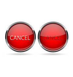 cancel buttons round red 3d icons with chrome vector image
