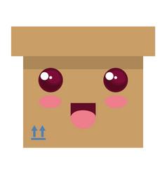 carton box kawaii character vector image