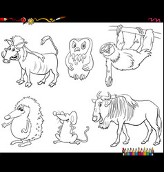 cartoon animal characters set color book page vector image