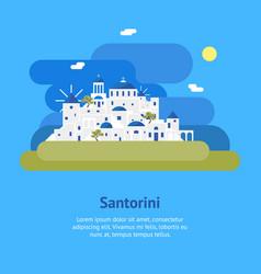 cartoon santorini island village card ad vector image