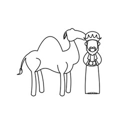 cartoon wise king with camel manger characters vector image