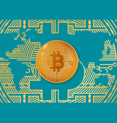 colorful of bitcoin and world vector image
