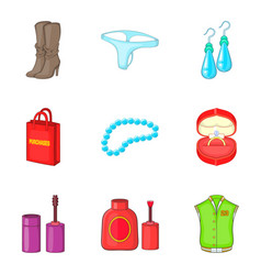 Commercial activity icons set cartoon style vector