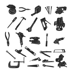 Construction tool silhouette collection set vector