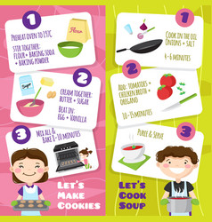 Cooking with children banners vector