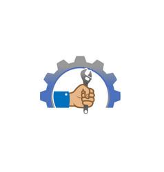 creative gear wrench hand service logo design vector image