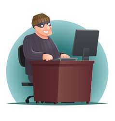 Criminal hacker adult online thief computer table vector