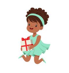 Cute happy little girl wearing magic mint dress vector
