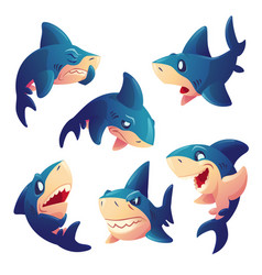 cute shark character with different emotions vector image