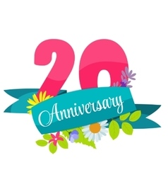 Cute Template 20 Years Anniversary Sign vector image