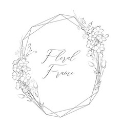 Delicate floristic geometric frame with vector