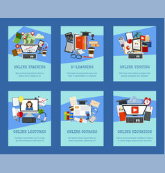 distance education set cards banners online vector image