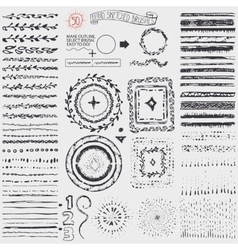 Doodle pattern brusheswreathframeburstBlack vector image