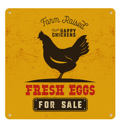 Farm fresh eggs poster card on yellow vintage vector