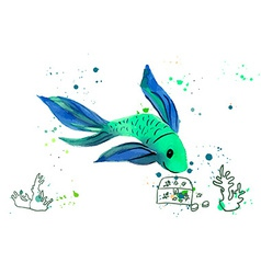 Fish Watercolor Isolated on a White Background vector