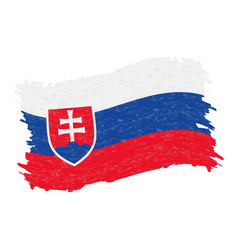 flag of slovakia grunge abstract brush stroke vector image
