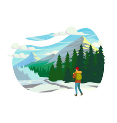 flat young man with winter clothes and backpack in vector image