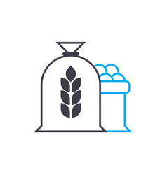 Flour production linear icon concept flour vector