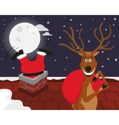 funny reindeer with santa on roof vector image