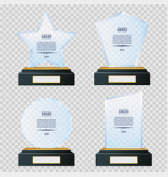glass trophy plaque awards set glossy vector image