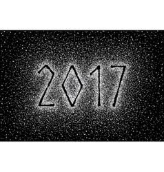 Glitter silver textured inscription 2017 vector