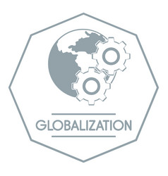 Globalization logo simple gray style vector