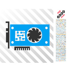 gpu accelerator card flat icon with bonus vector image