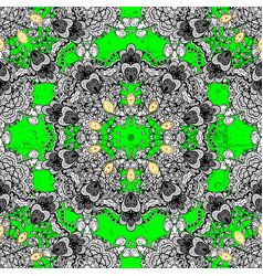green element on colors white floral ornament in vector image