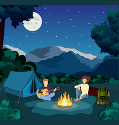 Group young people are sitting around campfire vector