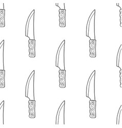 hand drawn kitchen knives seamless pattern vector image