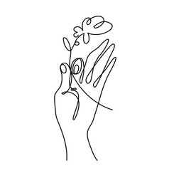 hand holding a flower simple line art vector image