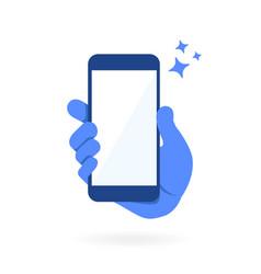 hand holding empty blank screen smartphone vector image