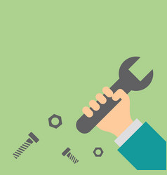 hand holding wrench repair and service concept vector image