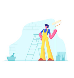 home repair worker with roller for wall painting vector image