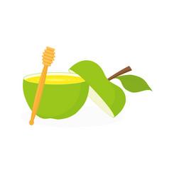 honey in apple honey dipper rosh hashanah vector image