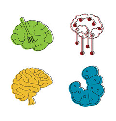 human brain icon set color outline style vector image