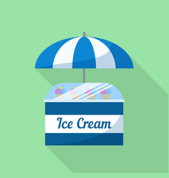 ice cream umbrella shop icon flat style vector image