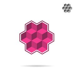 Isometric wall segment cubic logo vector