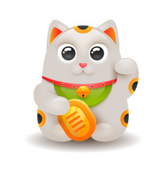 japanese lucky cat maneki neko isolated on white vector image
