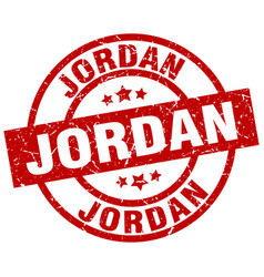 jordan red round grunge stamp vector image vector image
