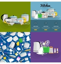 Kitchenware icons setCartoon kitchen vector image