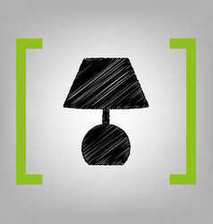 Lamp sign black scribble vector