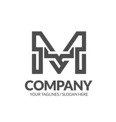 letter m geometric strong monogram logo vector image