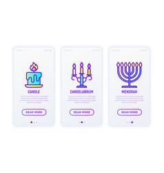 lighting line icons candle candelabrum menorah vector image