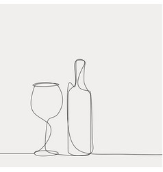 linear wine bottle and glass vector image