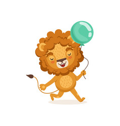 Lion cartoon character walking vector